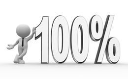 100%. 3d people - man, person with a percent sign. 100 Stock Image