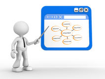 Browser window. 3d people - man, person pointing a browser window. Conceptual image of strategy Royalty Free Stock Photo