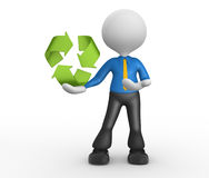 Recycling symbol. 3d people - man, person pointing a recycling symbol Stock Photography