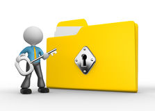 Businessman. 3d people - man, person with protected folder holding key in his hand Stock Image