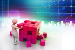 3d people - man, person pushing a cube. In attractive background Royalty Free Stock Photography