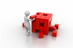 3d people - man, person pushing a cube. Business concept Royalty Free Stock Photography
