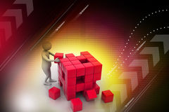 3d people - man, person pushing a cube Royalty Free Stock Images