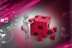 3d people - man, person pushing a cube. In color background Stock Photos