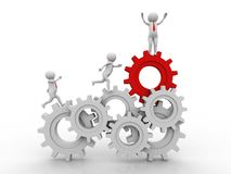 Businessman and gear mechanism. 3d illustration. 3d people - man, person running in gear wheels. Businessman and gear mechanism Stock Image