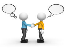 Deal. 3d people - man, person shaking hands with speech bubbles Stock Image