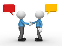 Deal. 3d people - man, person shaking hands with speech bubbles Royalty Free Stock Images