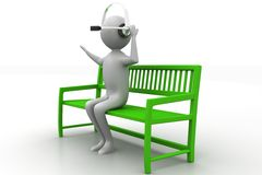 3d people - man, person sitting on the bench. Royalty Free Stock Image