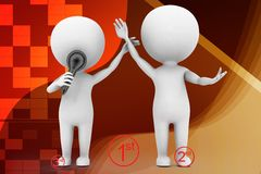 3d people - man, person 1st 2nd 3rd illustration Royalty Free Stock Images