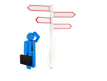 3d people - man, person standing in front of a road signs Royalty Free Stock Photography