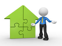 House. 3d people - man, person supported by a house pieces of puzzle. jigsaw Royalty Free Stock Photos