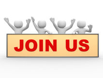 3d people - man, person with text JOIN US. 3d people - man, person with text JOIN US Stock Images