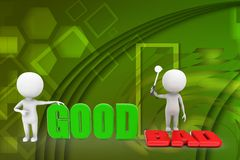 3d people - man, person with words good or bad illustration Stock Photo