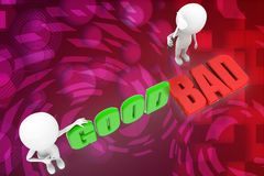 3d people - man, person with words good or bad illustration Stock Photography
