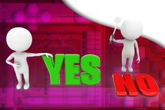3d people - man, person yes or no illustration Royalty Free Stock Photography