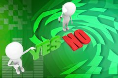 3d people - man, person yes or no illustration Stock Photos