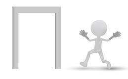 3d people - man running through an open door Stock Photo