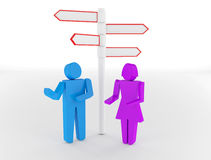 3d people - man and woman, person standing in front of a road si Stock Images
