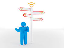 3d people - man and woman, person standing in front of a wifi si Stock Photography