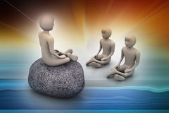 3d people in meditation Royalty Free Stock Photos