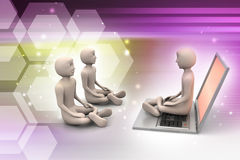 3d people in meditation with laptop Royalty Free Stock Photos