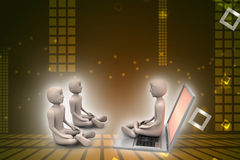 3d people in meditation with laptop Royalty Free Stock Photography