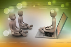 3d people in meditation with laptop Royalty Free Stock Image