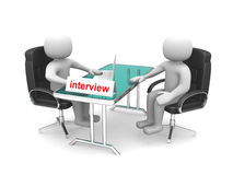 3d people - men, person - application or interview - talking tog. Ether Royalty Free Stock Images
