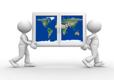 Window. 3d people - men, person carrying a window with earth globe. Elements of this image furnished by NASA Royalty Free Stock Image