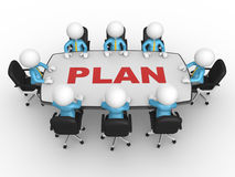 Conference table. 3d people - men, person at conference table. Business meeting and planning Stock Photo