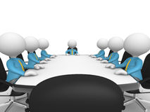 Conference table. 3d people - men, person at conference table. Businessmen in a company meeting Stock Photography
