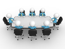 Conference table. 3d people - men, person at conference table. Businessmen in a company meeting Stock Photo