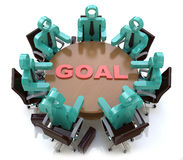 3d people - men, person at conference table. Goal Royalty Free Stock Image