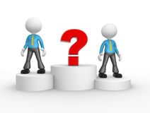 Question mark. 3d people - men, person on podium and question mark. The concept of business success Stock Photo