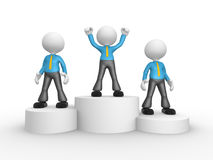 Businessman. 3d people - men, person on podium winner Royalty Free Stock Image