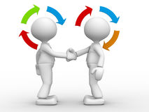 Partnership. 3d people - men, person shaking hands and arrows. Partnership Stock Photo