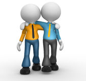 Friends. 3d people - men, person together. Friends Stock Image