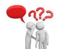 3d people - men, person whispered at ear and question marks. 3d render Stock Photography