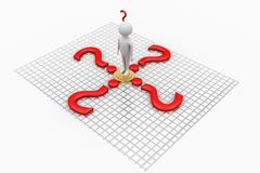 3d People in the middle of Question Marks Stock Photography