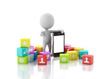 3d people with mobile phone and app icons on white background. Royalty Free Stock Photography