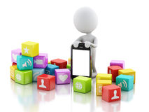 3d people with mobile phone and app icons on white background. Royalty Free Stock Image