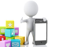 3d people with mobile phone and app icons on white background. Stock Image