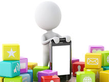 3d people with mobile phone and app icons on white background. Stock Photography