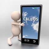 3D People with mobile phone and words call us. On light background Stock Image
