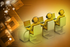 3d people in a modern desk with laptop Royalty Free Stock Images