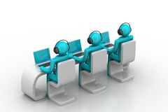 3d people in a modern desk with laptop Royalty Free Stock Photos