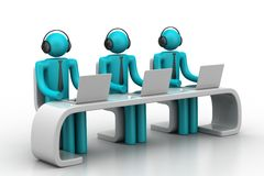 3d people in a modern desk with laptop. In white background Stock Photo