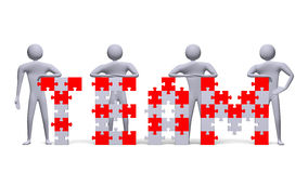 3d people near team text assembled of puzzles Royalty Free Stock Image