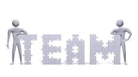 3d people near team text assembled of puzzles Stock Image