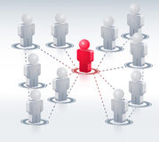 3D People Network. Business network with one person connected to the rest Royalty Free Stock Photography